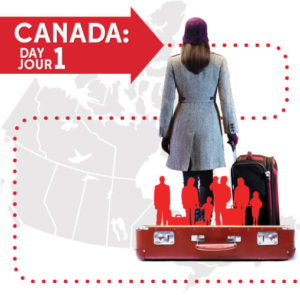 Woman with suitcase at Canada: Day One Exhibit