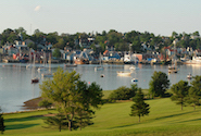 Panoramic view of Lunenburg Harbour, including the golf course