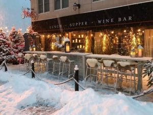 Snowy exterior view of the Bicycle Thief Restaurant