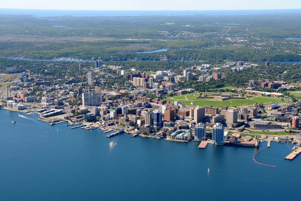Wide Aerial View of Halifax Waterfront