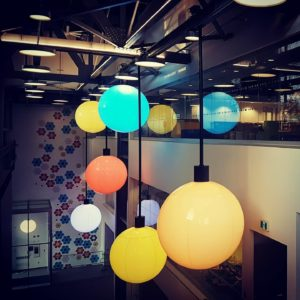 Coloured Hanging Lights from ceiling at Discovery Centre