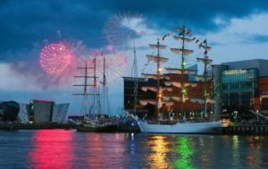 Tall Ship Gulden Leeuw with Fireworks in Background