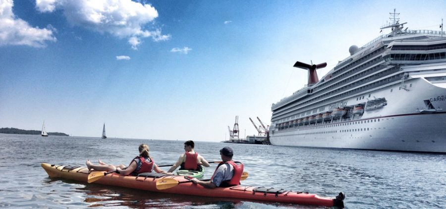 People Kayaking in harbour near cruise ship