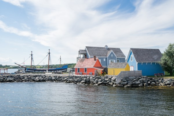 Pictou waterfront showing colourful buildings and Hector sailing ship